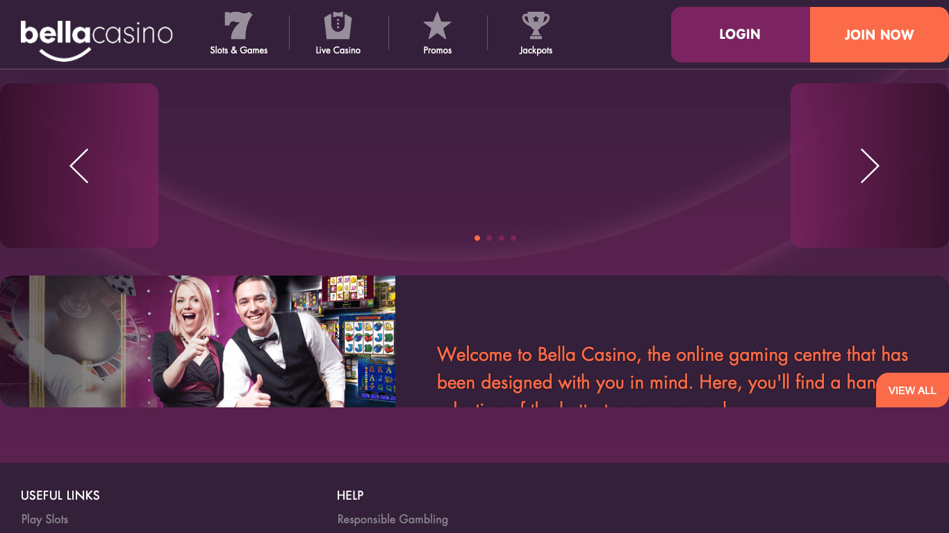 Bella Casino on laptop
