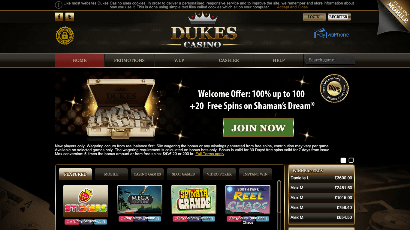 Dukes Casino on laptop