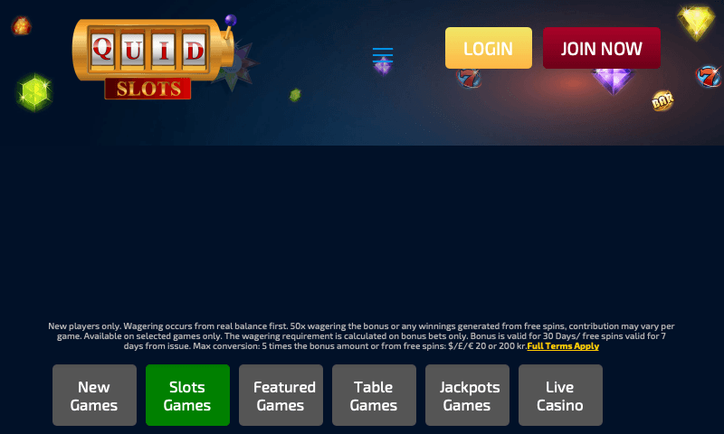 Quid Slots on tablet