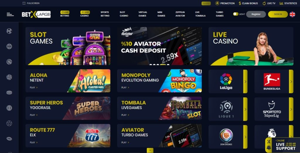 betxlarge casino desktop screenshot